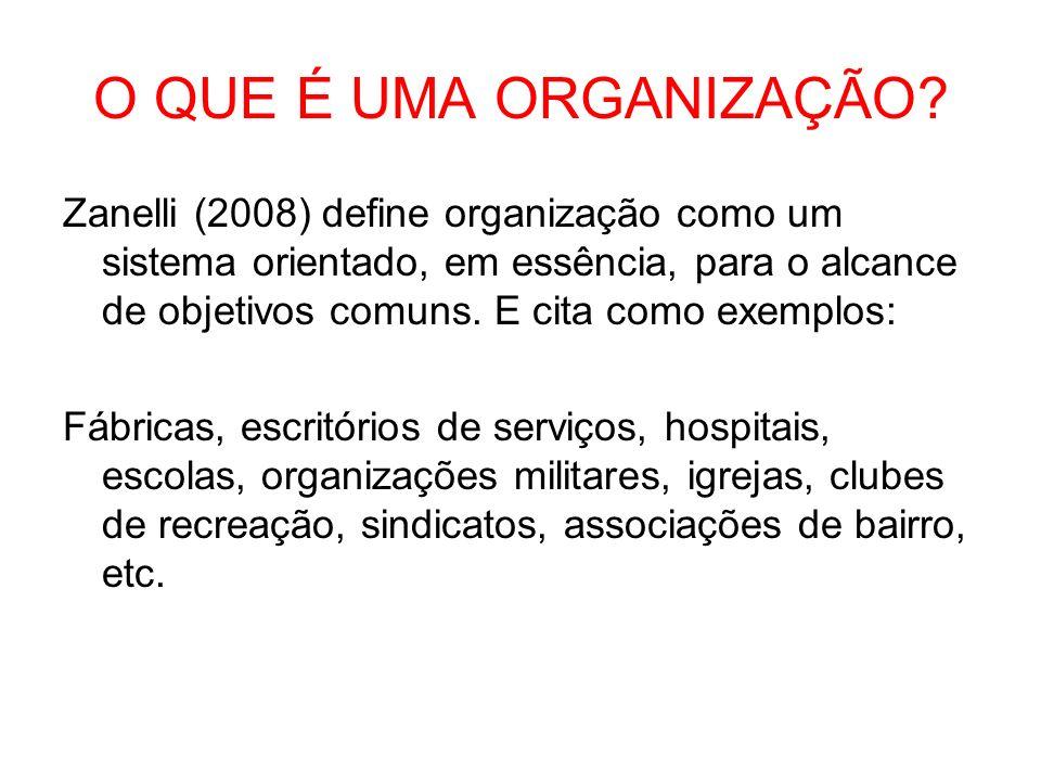 O QUE É UMA ORGANIZAÇÃO? Zanelli (2008) define organização como um sistema orientado, em essência, para o alcance de objetivos comuns. E cita como exe