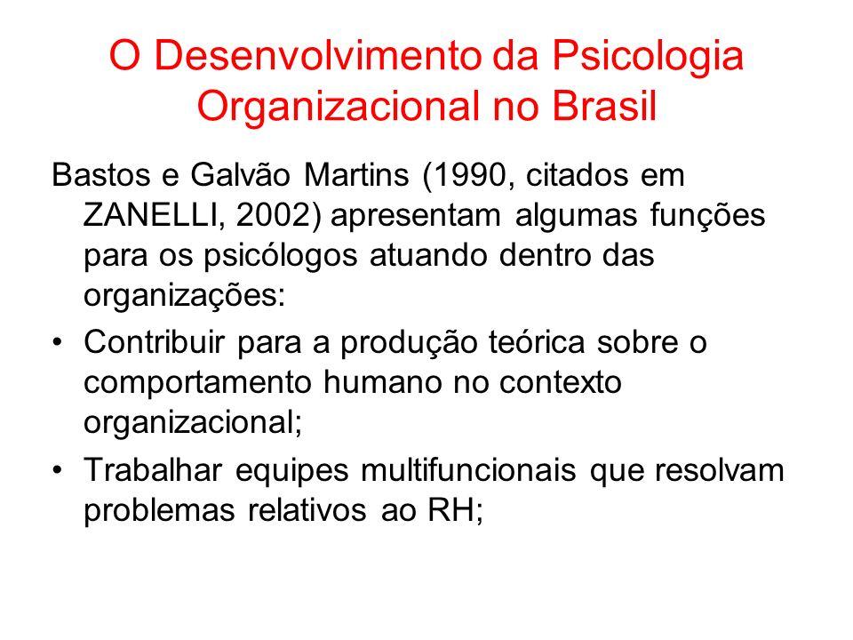 O Desenvolvimento da Psicologia Organizacional no Brasil Bastos e Galvão Martins (1990, citados em ZANELLI, 2002) apresentam algumas funções para os p