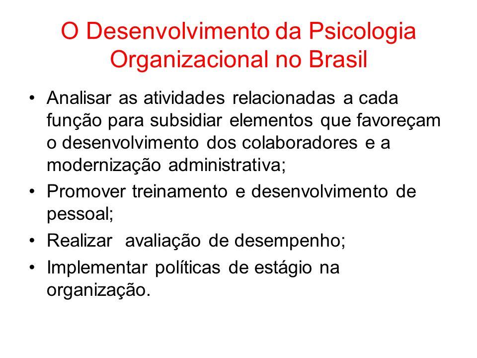 O Desenvolvimento da Psicologia Organizacional no Brasil Analisar as atividades relacionadas a cada função para subsidiar elementos que favoreçam o de