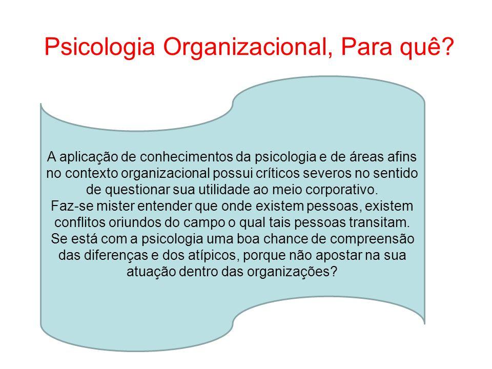 Psicologia Organizacional, Para quê? A aplicação de conhecimentos da psicologia e de áreas afins no contexto organizacional possui críticos severos no