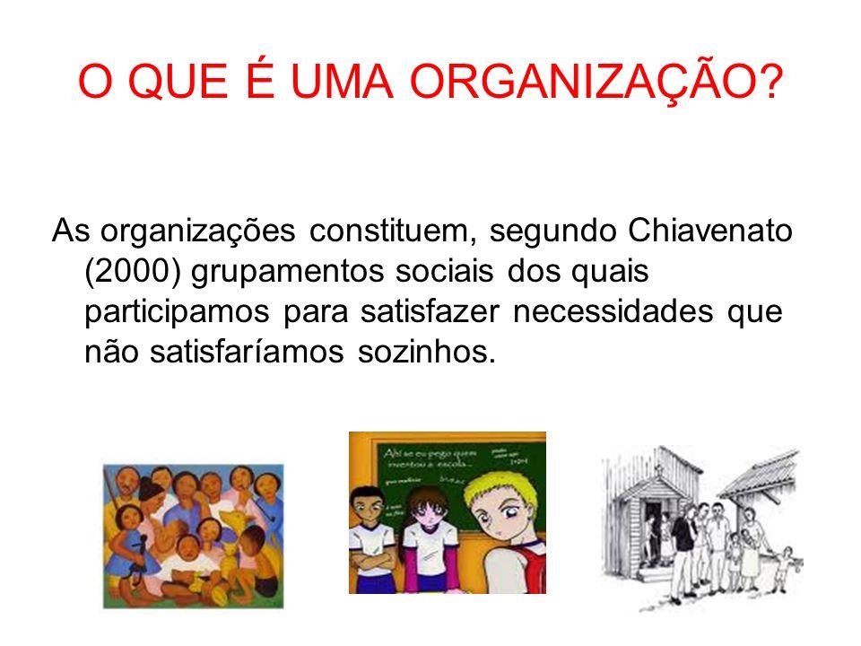 O QUE É UMA ORGANIZAÇÃO? As organizações constituem, segundo Chiavenato (2000) grupamentos sociais dos quais participamos para satisfazer necessidades