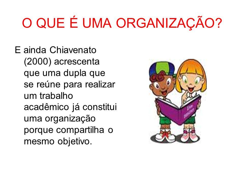 O QUE É UMA ORGANIZAÇÃO? E ainda Chiavenato (2000) acrescenta que uma dupla que se reúne para realizar um trabalho acadêmico já constitui uma organiza