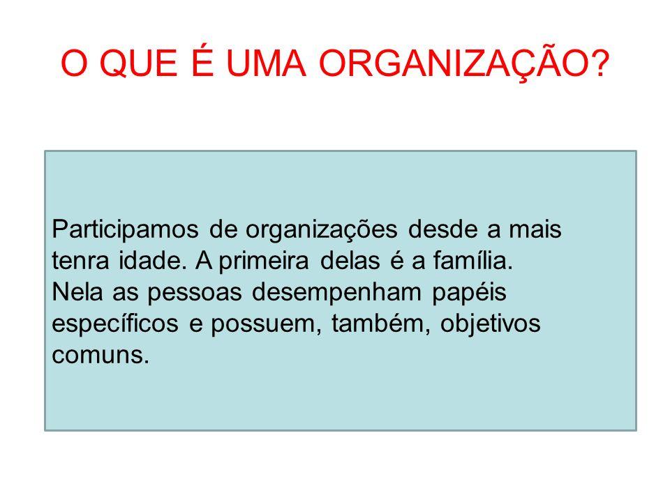 O QUE É UMA ORGANIZAÇÃO? Participamos de organizações desde a mais tenra idade. A primeira delas é a família. Nela as pessoas desempenham papéis espec