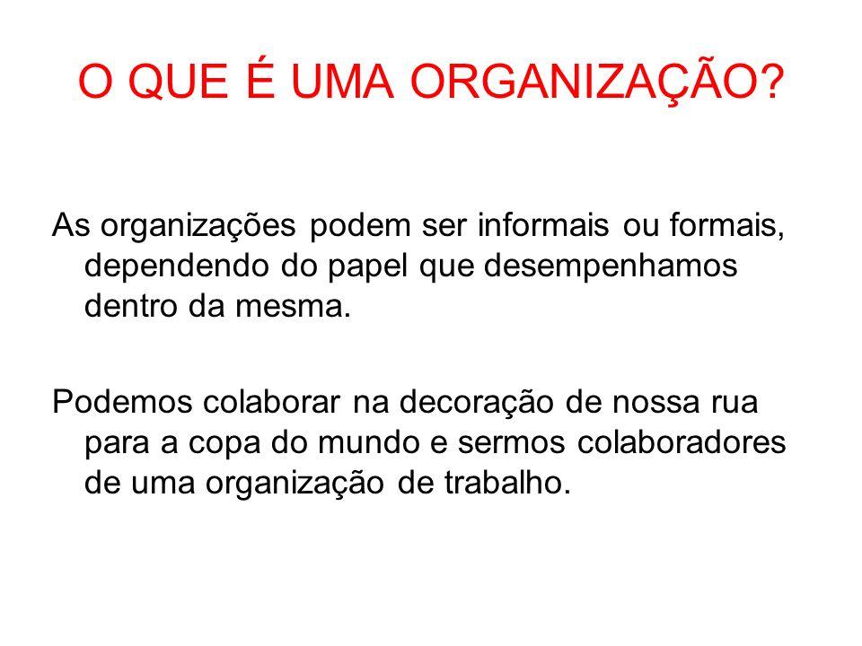 O QUE É UMA ORGANIZAÇÃO? As organizações podem ser informais ou formais, dependendo do papel que desempenhamos dentro da mesma. Podemos colaborar na d