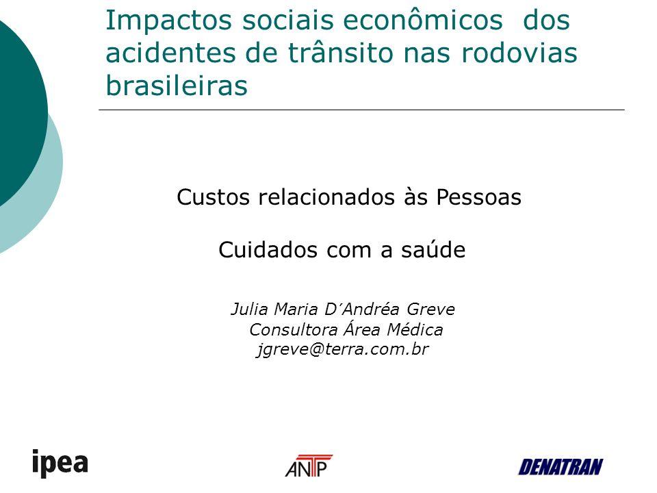 Impactos sociais econômicos dos acidentes de trânsito nas rodovias brasileiras Custos relacionados às Pessoas Cuidados com a saúde Julia Maria D´Andréa Greve Consultora Área Médica jgreve@terra.com.br