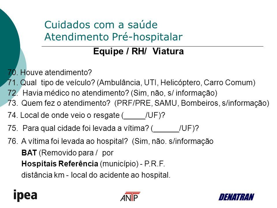 Cuidados com a saúde Atendimento Pré-hospitalar Equipe / RH/ Viatura 70.