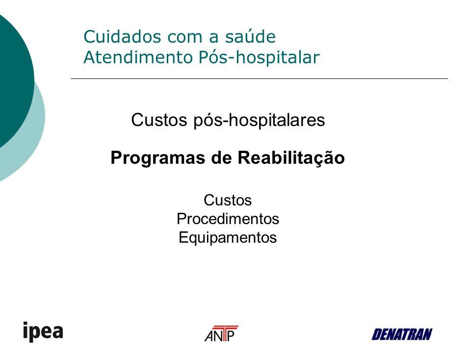 Cuidados com a saúde Atendimento Pós-hospitalar Custos pós-hospitalares Programas de Reabilitação Custos Procedimentos Equipamentos