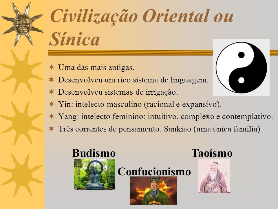 Civilização Oriental ou Sínica Uma das mais antigas. Desenvolveu um rico sistema de linguagem. Desenvolveu sistemas de irrigação. Yin: intelecto mascu