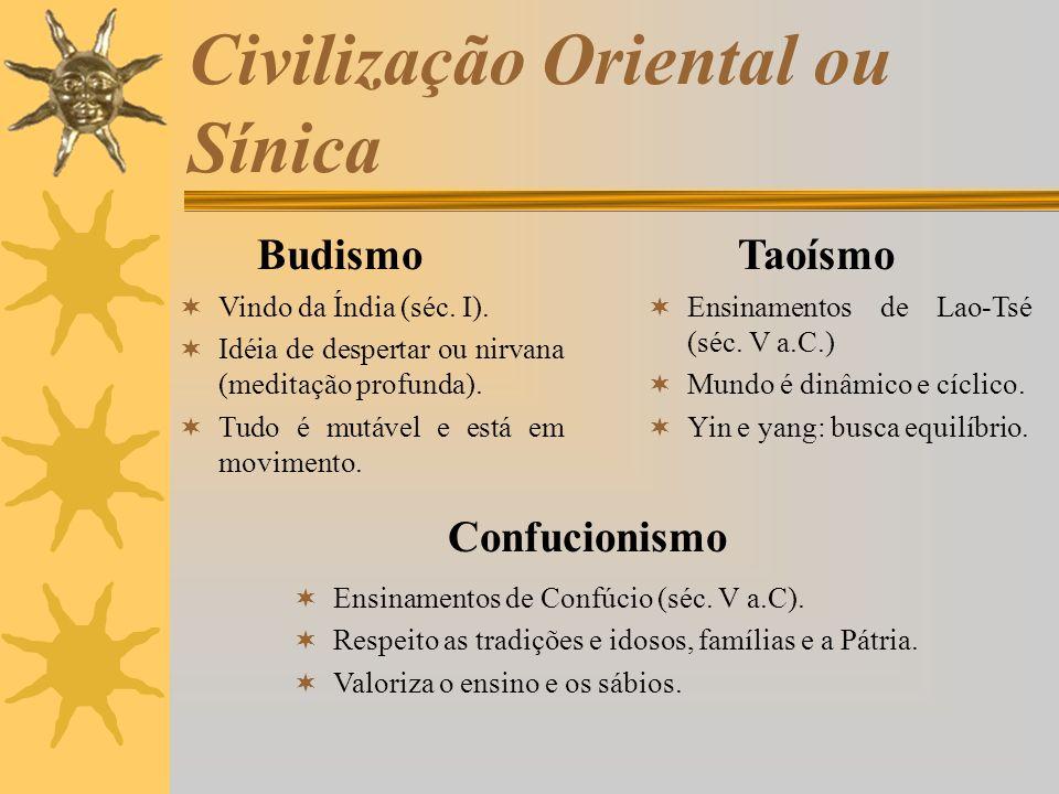 Civilização Oriental ou Sínica BudismoTaoísmo Vindo da Índia (séc. I). Idéia de despertar ou nirvana (meditação profunda). Tudo é mutável e está em mo
