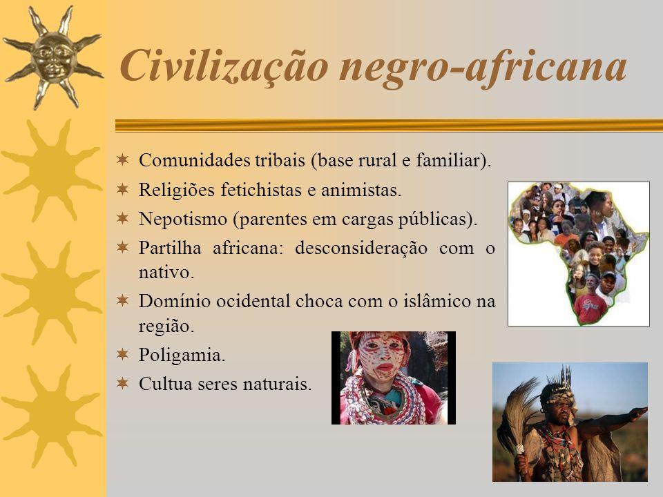 Civilização negro-africana Comunidades tribais (base rural e familiar). Religiões fetichistas e animistas. Nepotismo (parentes em cargas públicas). Pa