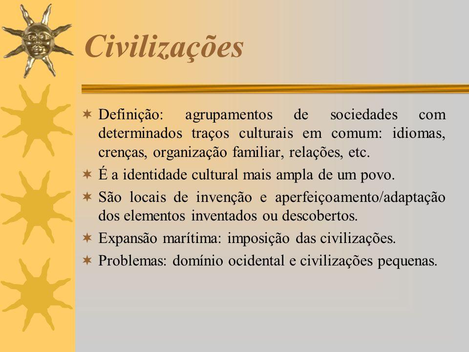 Civilizações Definição: agrupamentos de sociedades com determinados traços culturais em comum: idiomas, crenças, organização familiar, relações, etc.