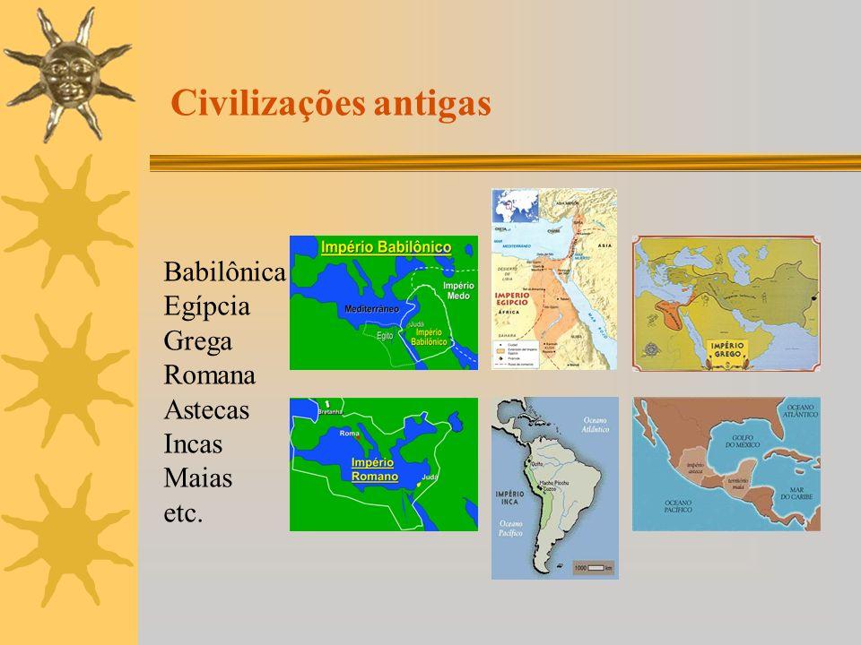 Babilônica Egípcia Grega Romana Astecas Incas Maias etc. Civilizações antigas