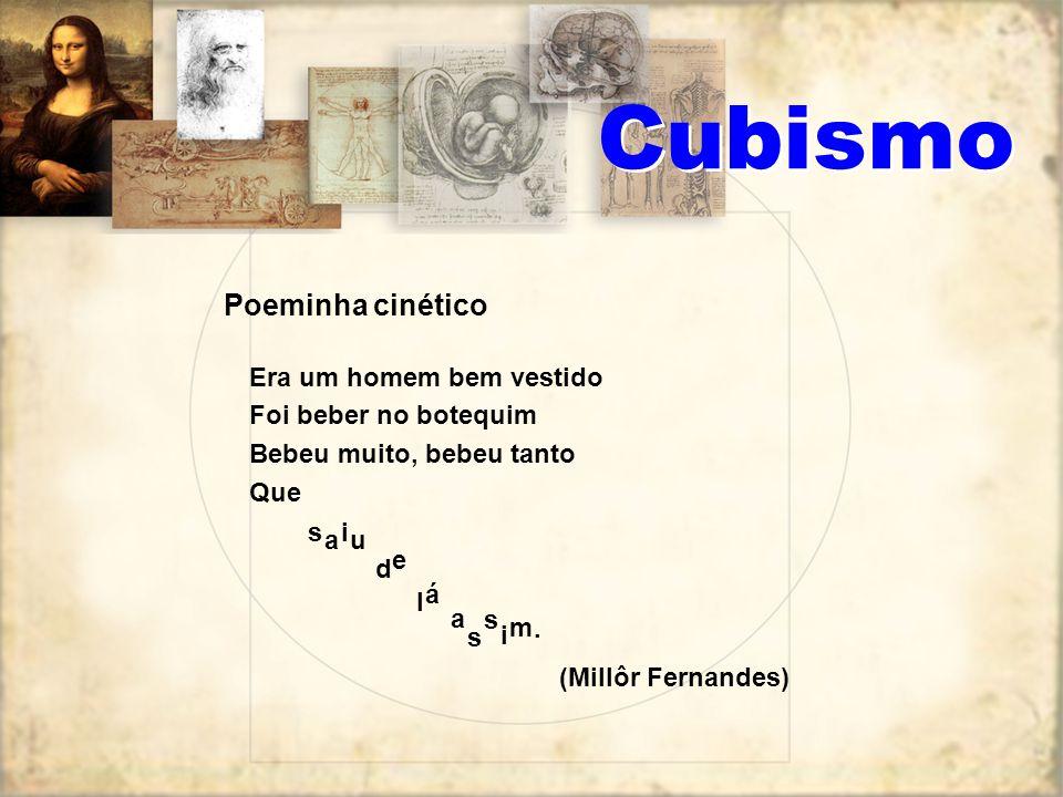 Na literatura podem ser apontados os seguintes elementos do estilo cubista: a obra de arte não deve ser uma representação objetiva da natureza, mas uma transformação dela, ao mesmo tempo objetiva e subjetiva.