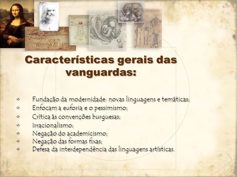 Principais características do período: 1.Belle Époque; 2.Euforia burguesa pelo advento da Era da Máquina; 3.Culto ao progresso, à velocidade e aos con