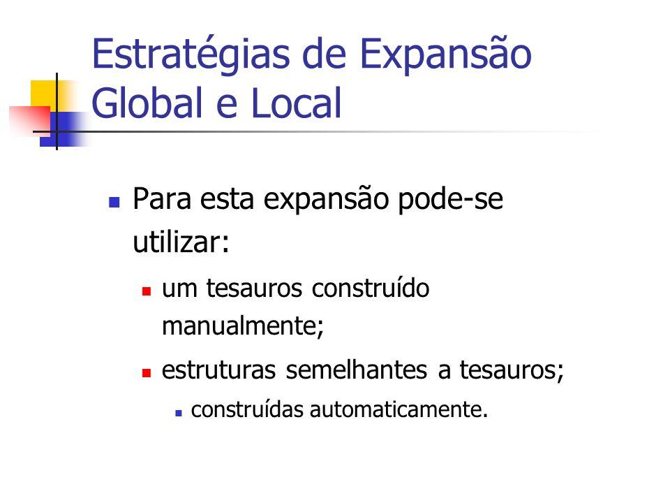 Estratégias de Expansão Global e Local Para esta expansão pode-se utilizar: um tesauros construído manualmente; estruturas semelhantes a tesauros; con
