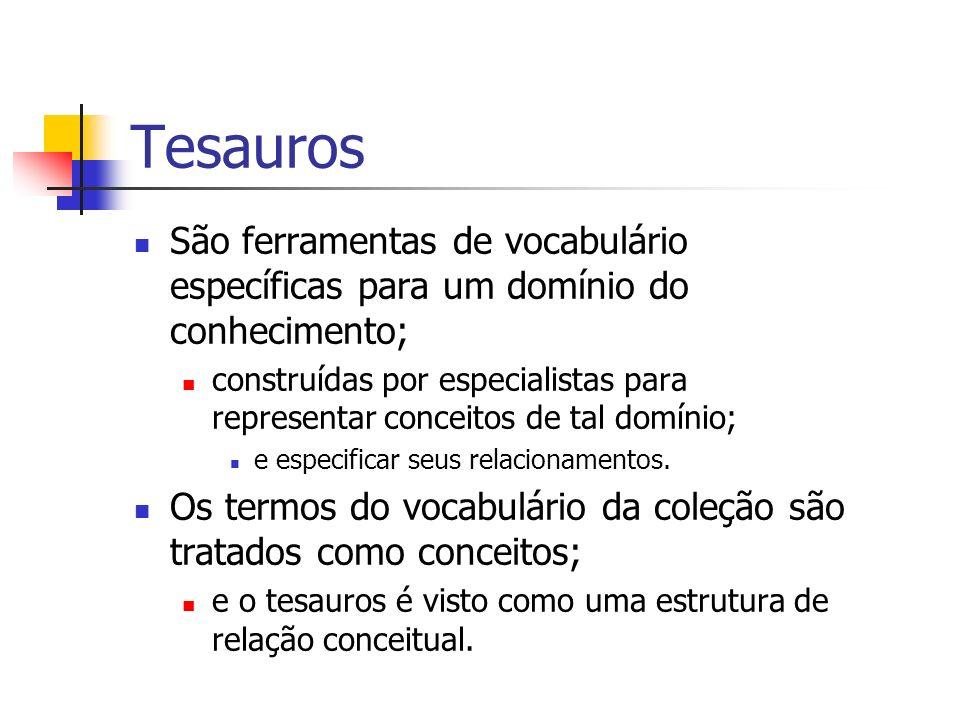 Tesauros São ferramentas de vocabulário específicas para um domínio do conhecimento; construídas por especialistas para representar conceitos de tal d