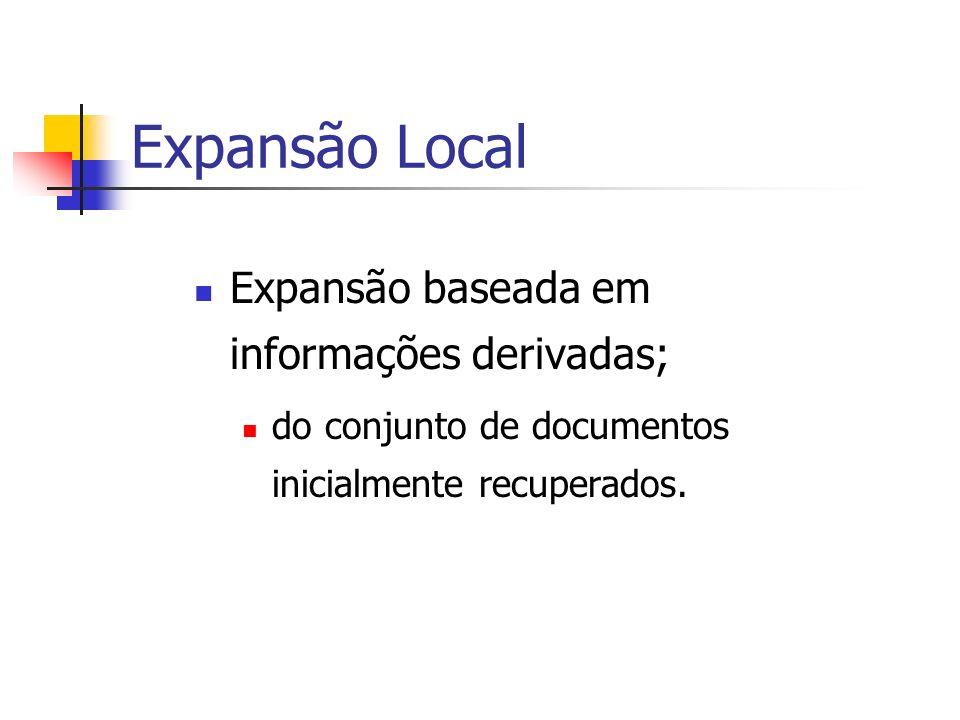 Expansão Local Expansão baseada em informações derivadas; do conjunto de documentos inicialmente recuperados.