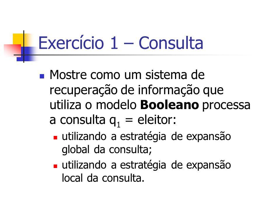 Exercício 1 – Consulta Mostre como um sistema de recuperação de informação que utiliza o modelo Booleano processa a consulta q 1 = eleitor: utilizando