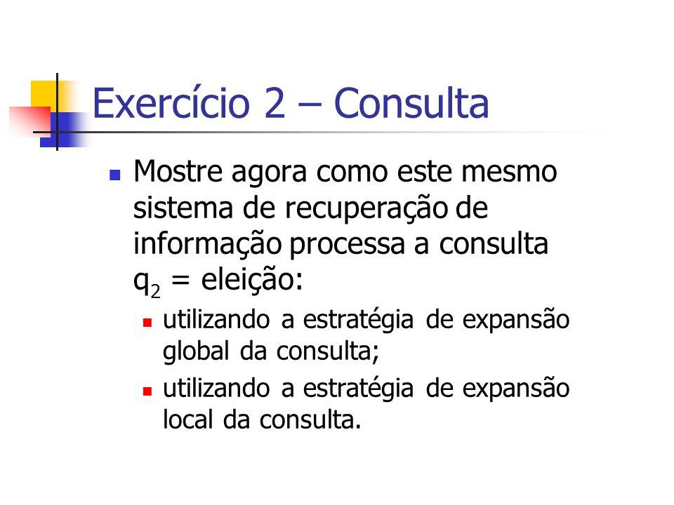Exercício 2 – Consulta Mostre agora como este mesmo sistema de recuperação de informação processa a consulta q 2 = eleição: utilizando a estratégia de