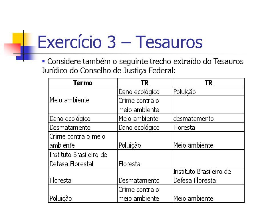 Exercício 3 – Tesauros Considere também o seguinte trecho extraído do Tesauros Jurídico do Conselho de Justiça Federal: