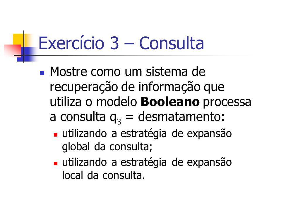 Exercício 3 – Consulta Mostre como um sistema de recuperação de informação que utiliza o modelo Booleano processa a consulta q 3 = desmatamento: utili