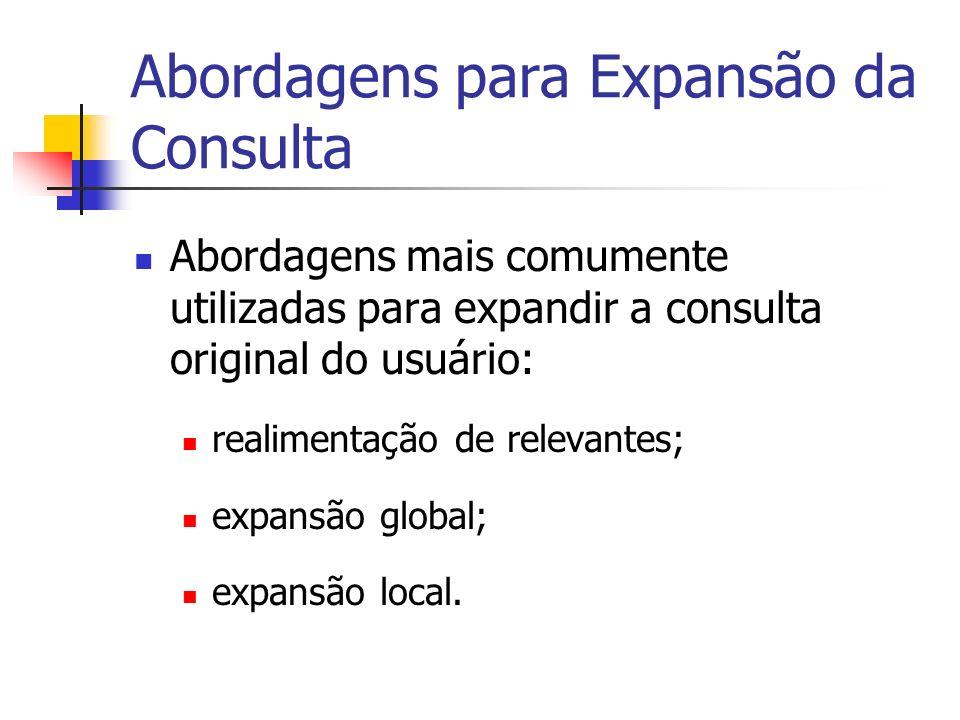 Abordagens para Expansão da Consulta Abordagens mais comumente utilizadas para expandir a consulta original do usuário: realimentação de relevantes; e