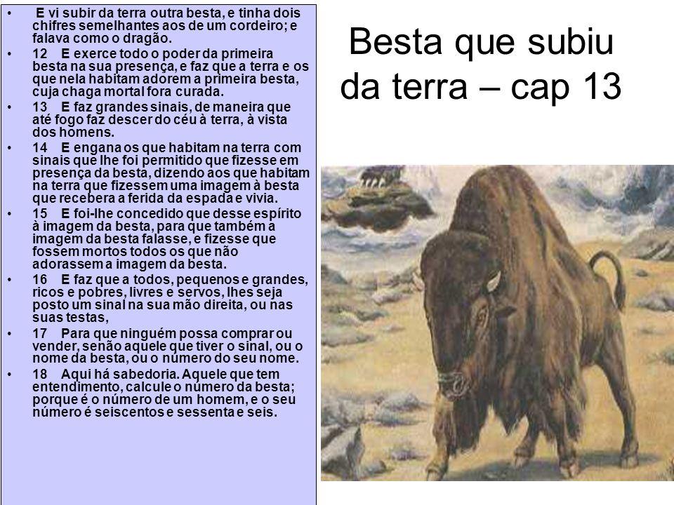 Besta que subiu da terra – cap 13 E vi subir da terra outra besta, e tinha dois chifres semelhantes aos de um cordeiro; e falava como o dragão. 12 E e