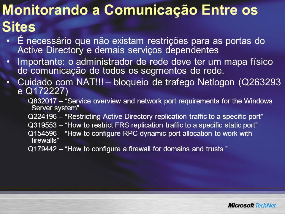 Monitorando a Comunicação Entre os Sites É necessário que não existam restrições para as portas do Active Directory e demais serviços dependentes Impo