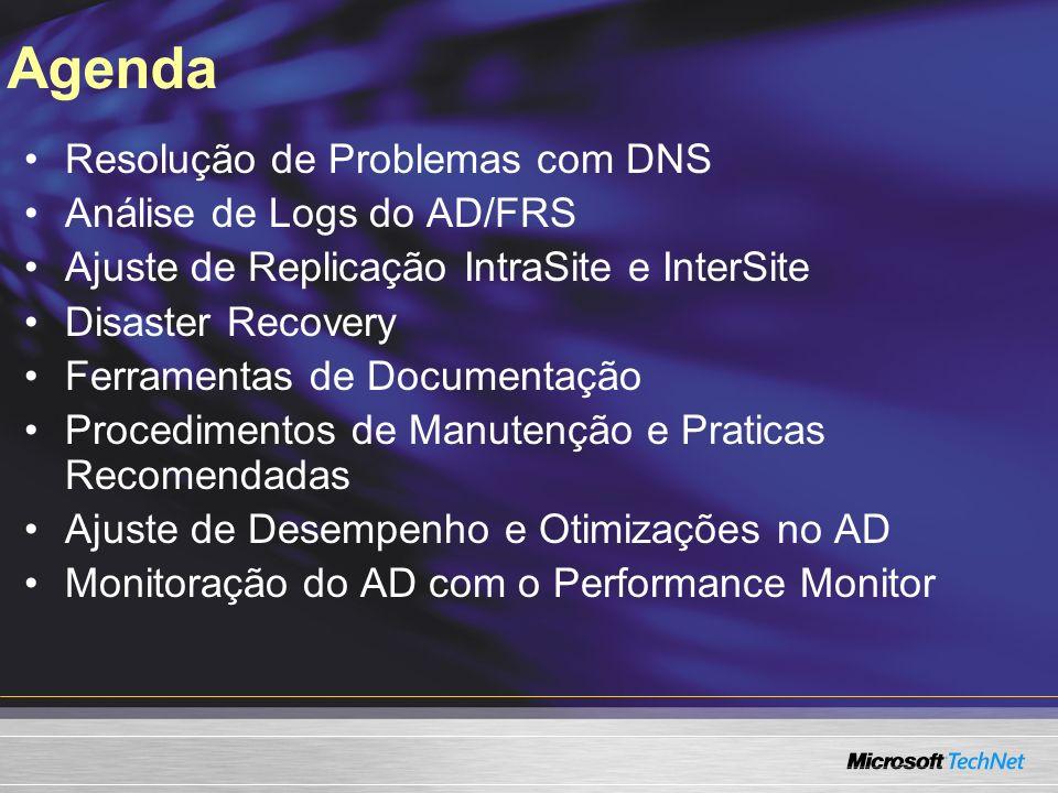 Agenda Resolução de Problemas com DNS Análise de Logs do AD/FRS Ajuste de Replicação IntraSite e InterSite Disaster Recovery Ferramentas de Documentaç
