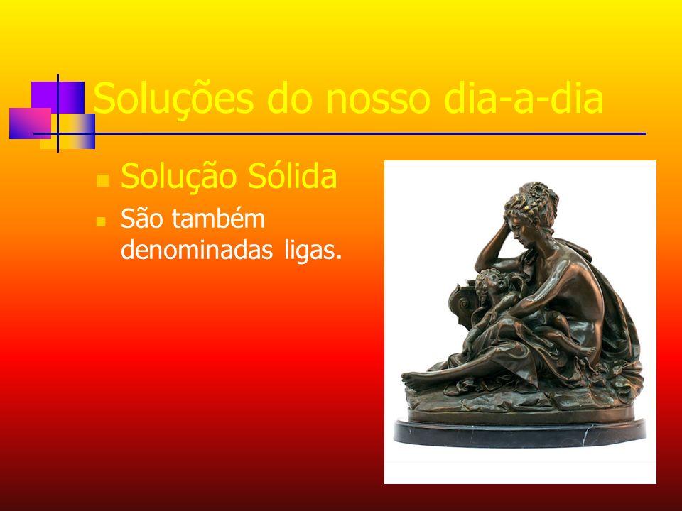 Soluções do nosso dia-a-dia Solução Sólida São também denominadas ligas.