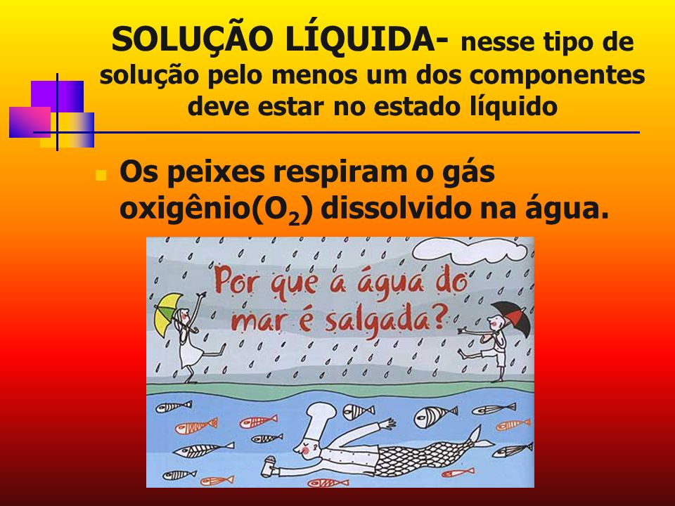 SOLUÇÃO LÍQUIDA- nesse tipo de solução pelo menos um dos componentes deve estar no estado líquido Os peixes respiram o gás oxigênio(O 2 ) dissolvido na água.