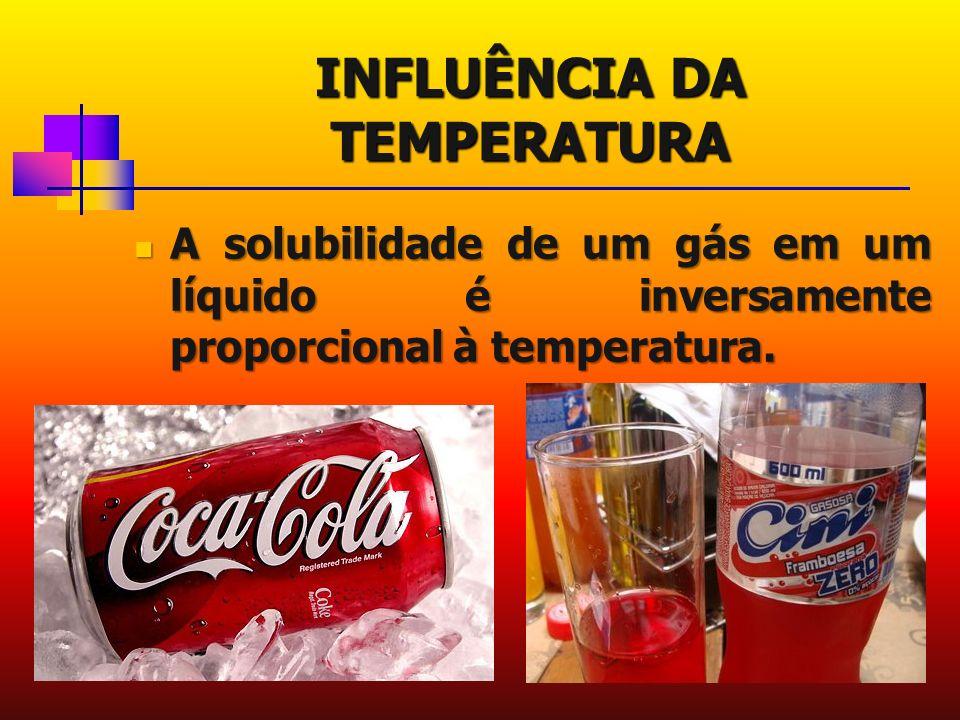 INFLUÊNCIA DA TEMPERATURA A solubilidade de um gás em um líquido é inversamente proporcional à temperatura.