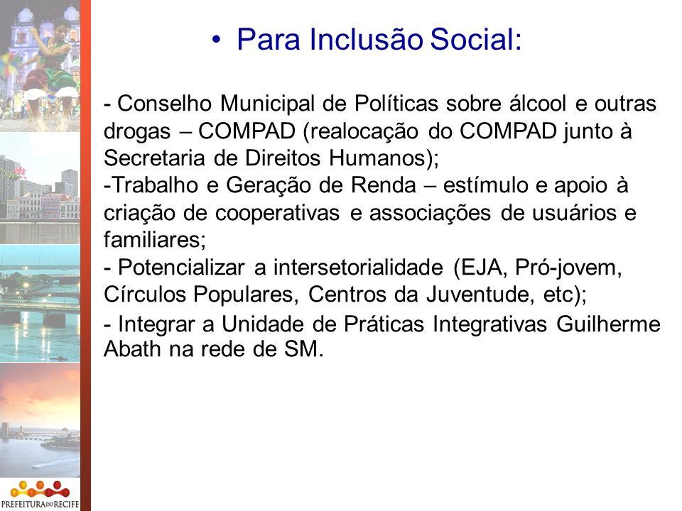 Para Inclusão Social: - Conselho Municipal de Políticas sobre álcool e outras drogas – COMPAD (realocação do COMPAD junto à Secretaria de Direitos Hum