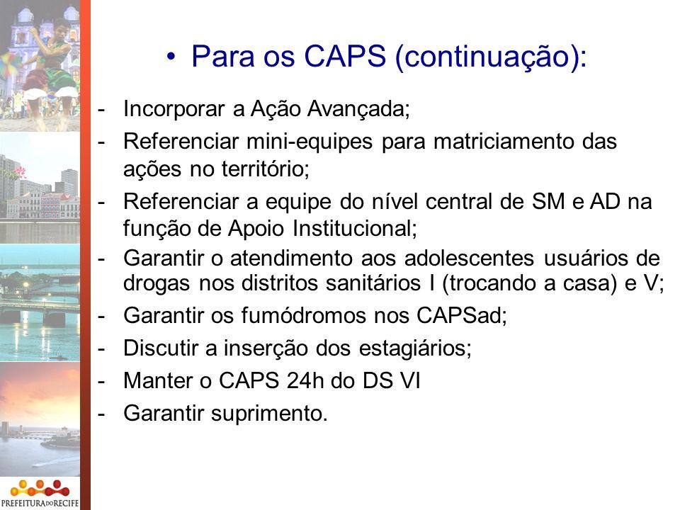 Para os CAPS (continuação): -Incorporar a Ação Avançada; -Referenciar mini-equipes para matriciamento das ações no território; -Referenciar a equipe d