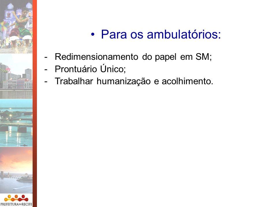 Para os ambulatórios: -Redimensionamento do papel em SM; -Prontuário Único; -Trabalhar humanização e acolhimento.