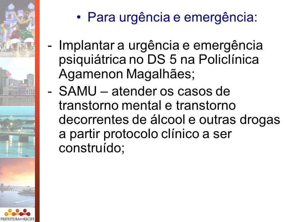 -Implantar a urgência e emergência psiquiátrica no DS 5 na Policlínica Agamenon Magalhães; -SAMU – atender os casos de transtorno mental e transtorno