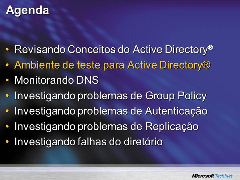 Agenda Revisando Conceitos do Active Directory ®Revisando Conceitos do Active Directory ® Ambiente de teste para Active Directory®Ambiente de teste pa