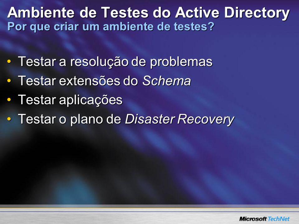 Ambiente de Testes do Active Directory Por que criar um ambiente de testes? Testar a resolução de problemasTestar a resolução de problemas Testar exte