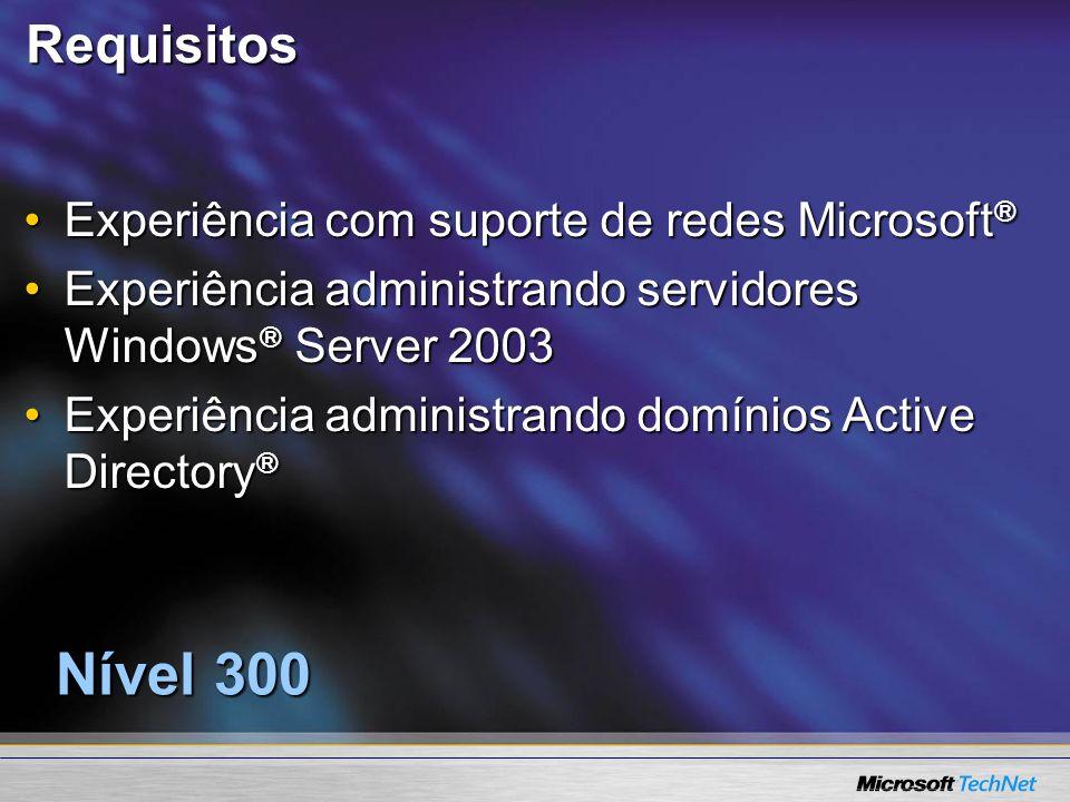 Requisitos Experiência com suporte de redes Microsoft ®Experiência com suporte de redes Microsoft ® Experiência administrando servidores Windows ® Ser