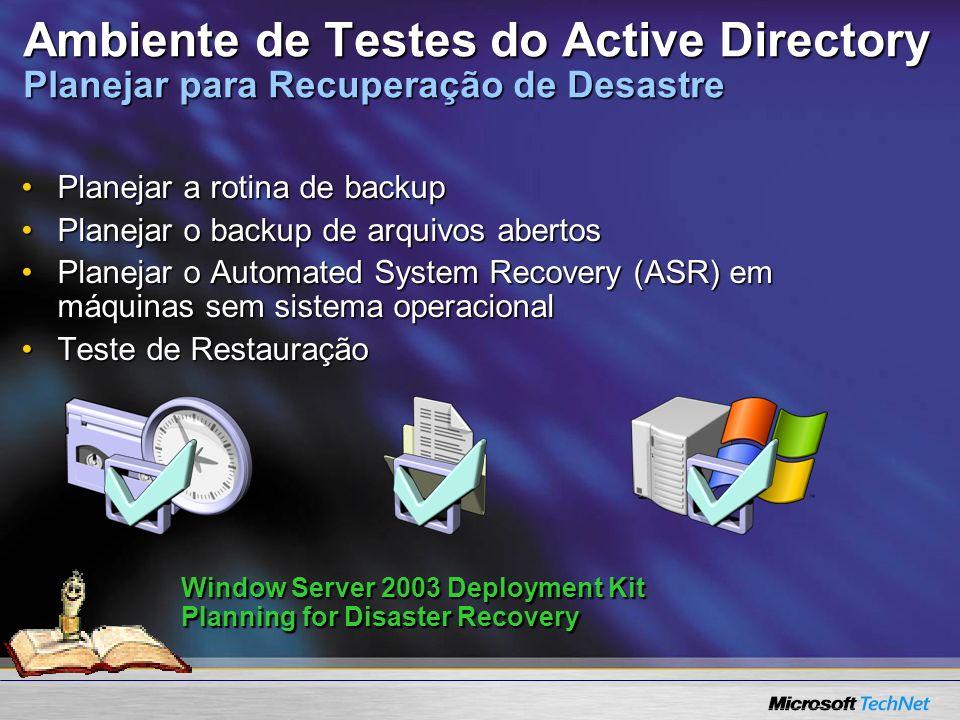 Ambiente de Testes do Active Directory Planejar para Recuperação de Desastre Planejar a rotina de backupPlanejar a rotina de backup Planejar o backup