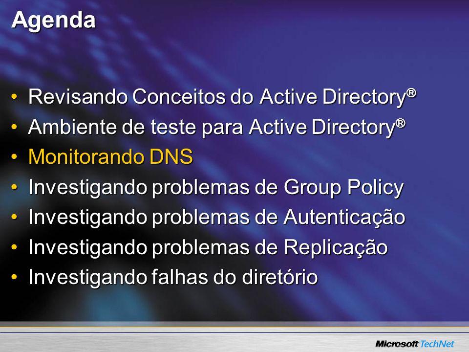 Agenda Revisando Conceitos do Active Directory ®Revisando Conceitos do Active Directory ® Ambiente de teste para Active Directory ®Ambiente de teste p