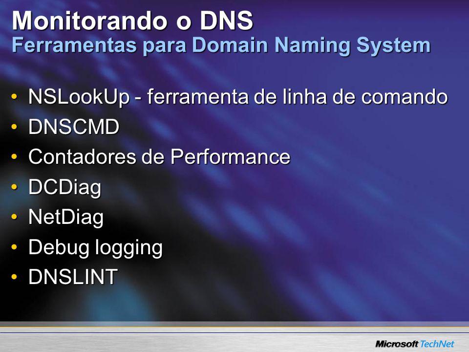 Monitorando o DNS Ferramentas para Domain Naming System NSLookUp - ferramenta de linha de comandoNSLookUp - ferramenta de linha de comando DNSCMDDNSCM