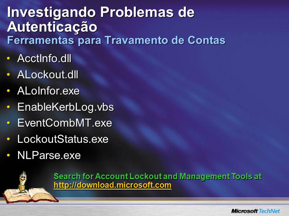 Investigando Problemas de Autenticação Ferramentas para Travamento de Contas AcctInfo.dllAcctInfo.dll ALockout.dllALockout.dll ALoInfor.exeALoInfor.ex