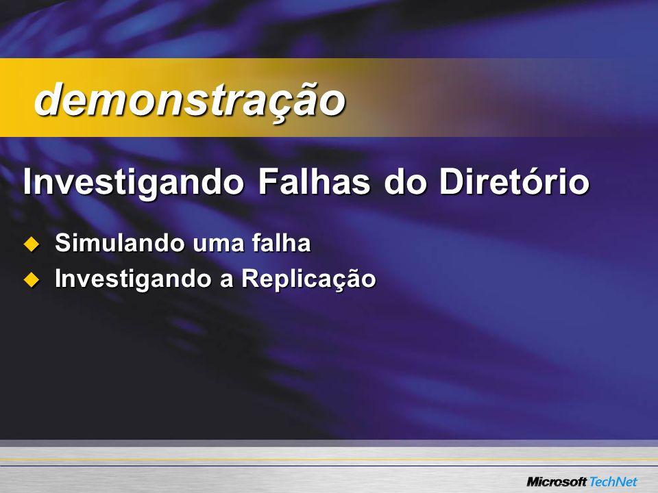 Investigando Falhas do Diretório Simulando uma falha Simulando uma falha Investigando a Replicação Investigando a Replicação demonstração demonstração