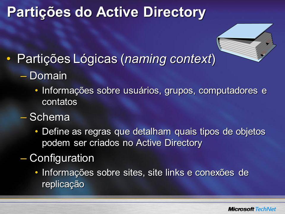 Partições do Active Directory Partições Lógicas (naming context)Partições Lógicas (naming context) –Domain Informações sobre usuários, grupos, computa