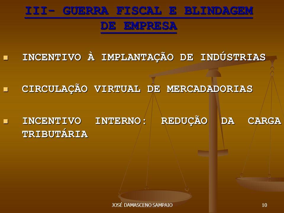JOSÉ DAMASCENO SAMPAIO10 III- GUERRA FISCAL E BLINDAGEM DE EMPRESA INCENTIVO À IMPLANTAÇÃO DE INDÚSTRIAS INCENTIVO À IMPLANTAÇÃO DE INDÚSTRIAS CIRCULA