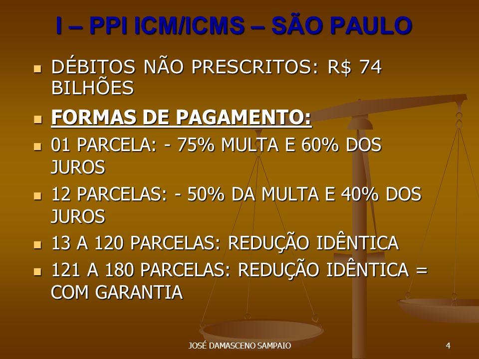 JOSÉ DAMASCENO SAMPAIO5 I – SÃO PAULO – PPI ICM/ICMS PRAZO PARA ADESÃO: 30/09/2007 PRAZO PARA ADESÃO: 30/09/2007 O parcelamento ou pagamento em parcela única: O parcelamento ou pagamento em parcela única: I - implica confissão irrevogável e irretratável do débito fiscal; I - implica confissão irrevogável e irretratável do débito fiscal; II - expressa renúncia a qualquer defesa ou recurso administrativo ou judicial, bem como desistência dos já interpostos, relativamente aos débitos fiscais incluídos no parcelamento ou objeto de liquidação em parcela única II - expressa renúncia a qualquer defesa ou recurso administrativo ou judicial, bem como desistência dos já interpostos, relativamente aos débitos fiscais incluídos no parcelamento ou objeto de liquidação em parcela única
