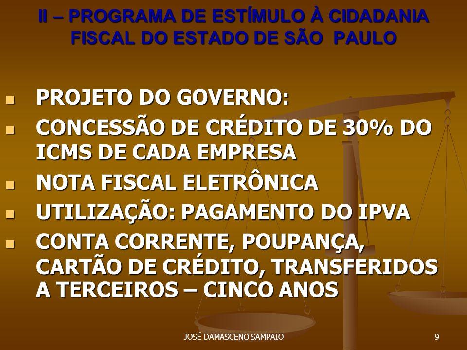 JOSÉ DAMASCENO SAMPAIO10 III- GUERRA FISCAL E BLINDAGEM DE EMPRESA INCENTIVO À IMPLANTAÇÃO DE INDÚSTRIAS INCENTIVO À IMPLANTAÇÃO DE INDÚSTRIAS CIRCULAÇÃO VIRTUAL DE MERCADADORIAS CIRCULAÇÃO VIRTUAL DE MERCADADORIAS INCENTIVO INTERNO: REDUÇÃO DA CARGA TRIBUTÁRIA INCENTIVO INTERNO: REDUÇÃO DA CARGA TRIBUTÁRIA