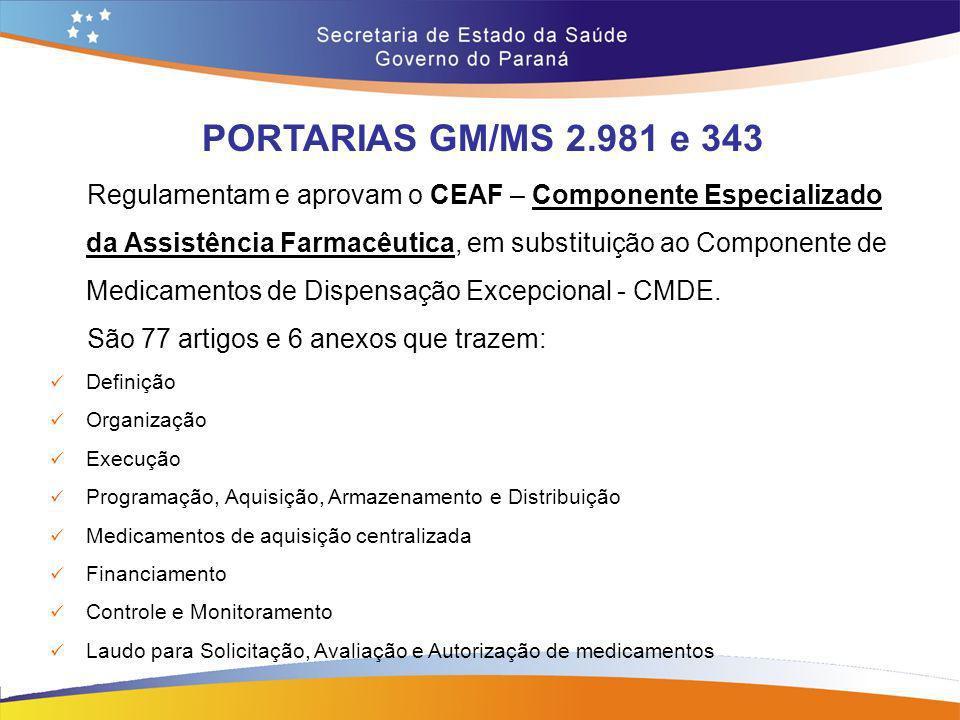 PORTARIAS GM/MS 2.981 e 343 Regulamentam e aprovam o CEAF – Componente Especializado da Assistência Farmacêutica, em substituição ao Componente de Med
