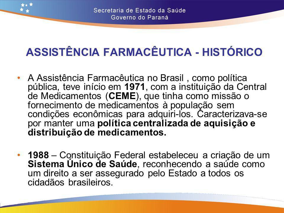 ASSISTÊNCIA FARMACÊUTICA - HISTÓRICO A Assistência Farmacêutica no Brasil, como política pública, teve início em 1971, com a instituição da Central de